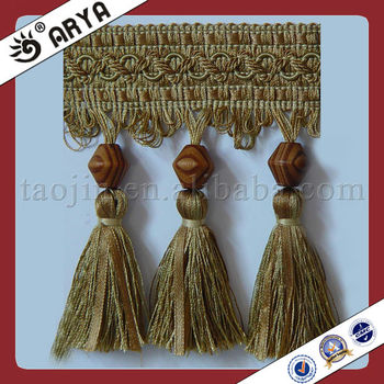Louta Wood Beads And Tassel Curtain Lace Trim Fringe,Used For ...
