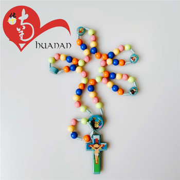 Mixed Color Thread Woven Plastic Prayer Bead Catholic Reliious Rosary Necklace for Children