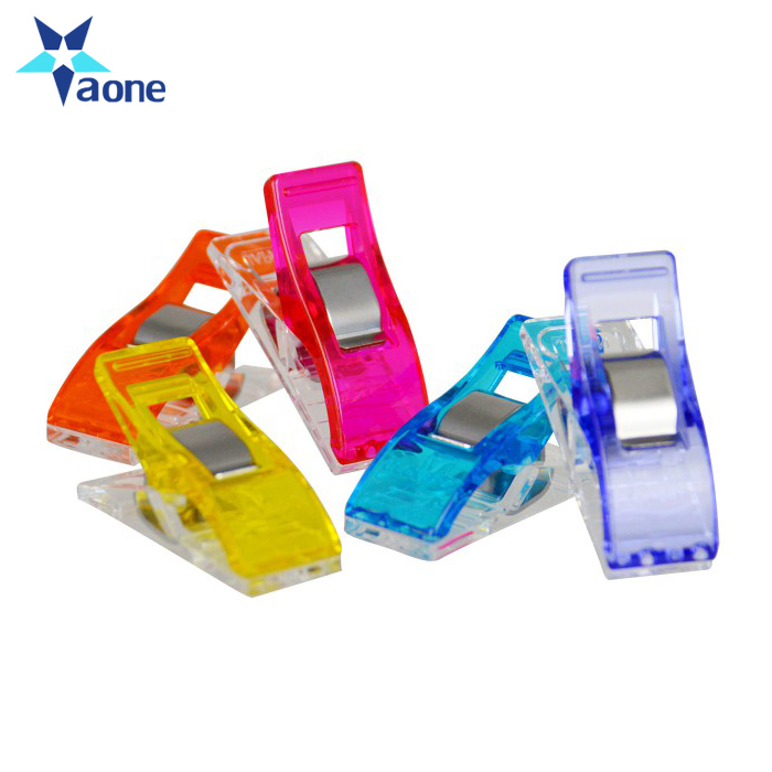Factory Price Cheap Plastic Transparent Assorted Color Fabric Binding Patcheowk Quilt Sewing Wonder Clips