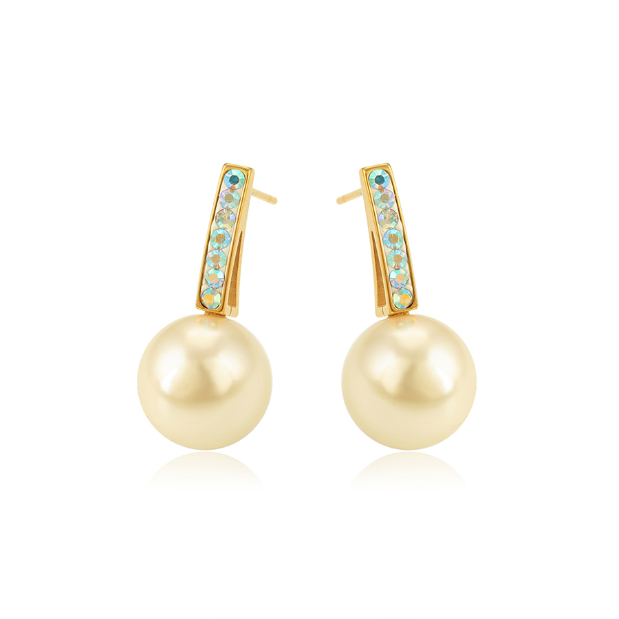 E-850 Xuping fashion 24k gold plated stainless steel jewelry women new design shell pearl drop earrings