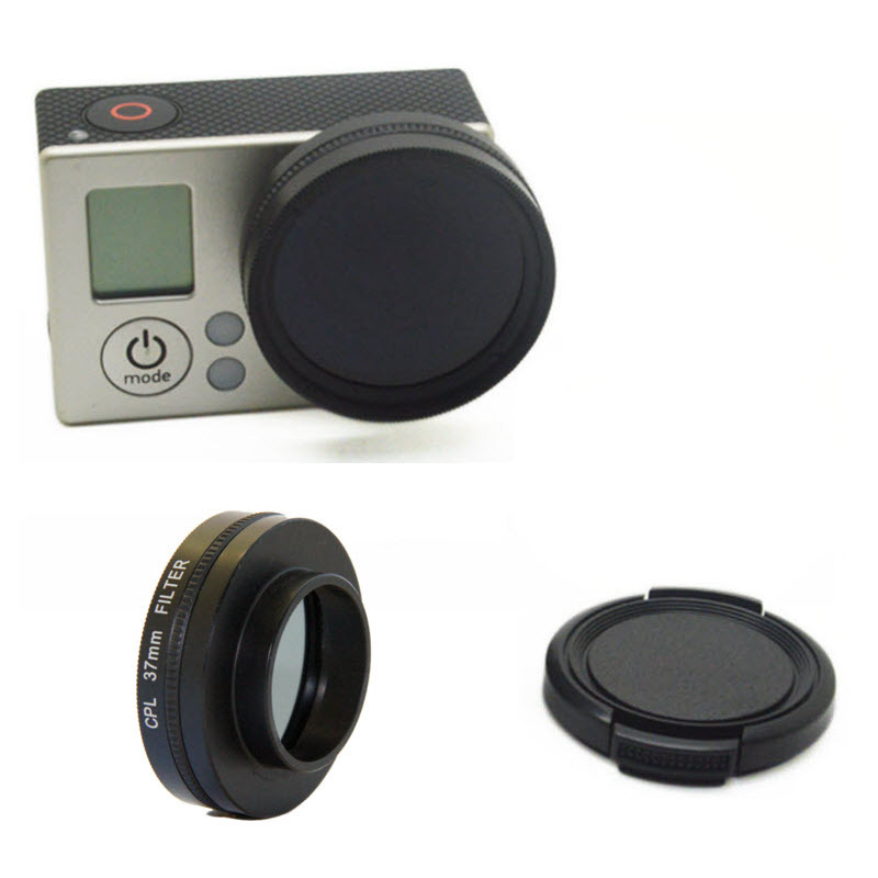 New Go Pro Replaceable Camera Lens CPL Filter & Lens Cover Set for GoPro Hero 4 3+ 3 Camera Accessories 37mm Diameter