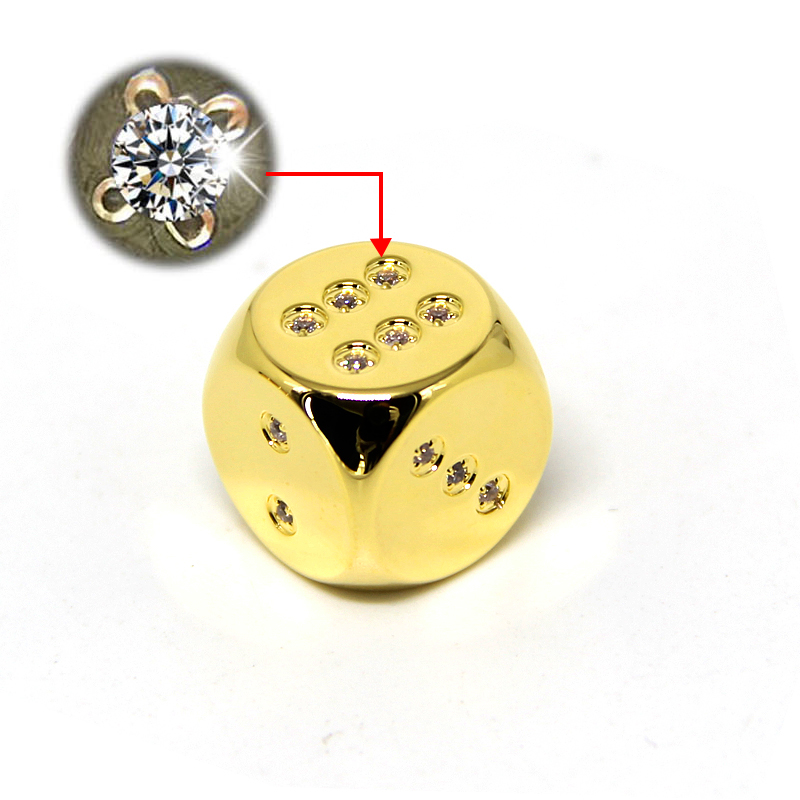 One Lucky 24K Gold with Diamonds Inlaid Custom 6 Sided Dice
