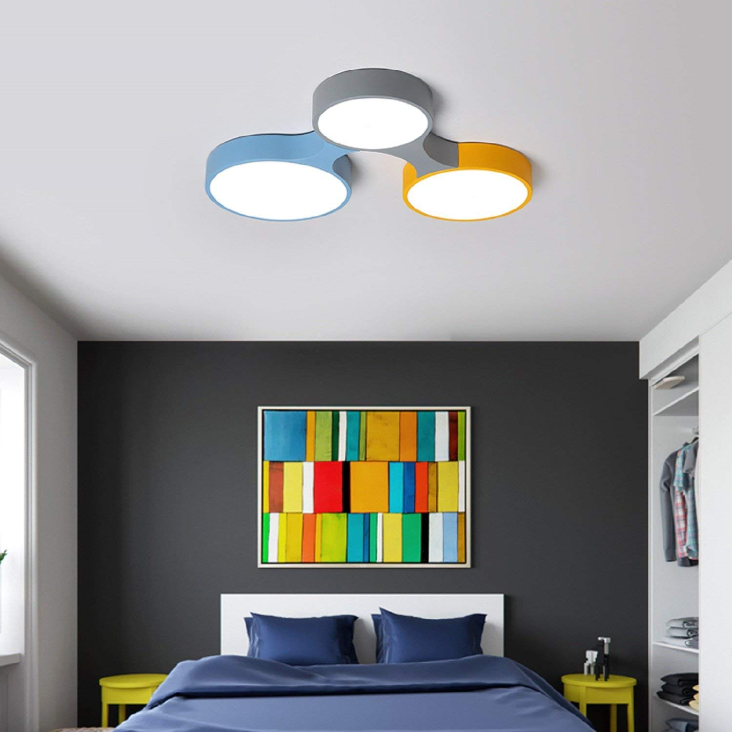 Waineg Nordic Designer 3 Head Colorful Round Acrylic Lampshade Ceiling Lamp Creative Children S Room Led