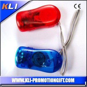 Hand press flashlight dynamo 3 led torch keychain