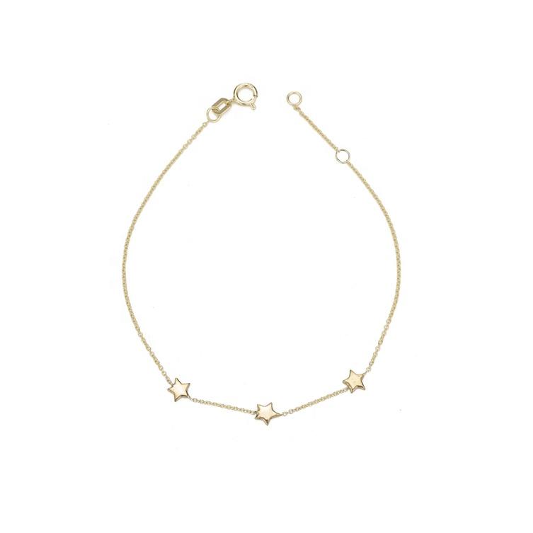 925 jewelry 18K plated dainty three star thin sterling silver bracelet