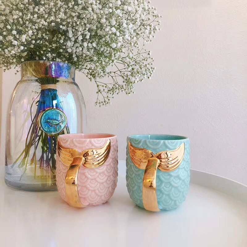 Zogifts nieuwe item Golden Mermaid Mark Cup Keramische Creatieve Cup Koffiekopje Gift Custom LOGO Factory Direct