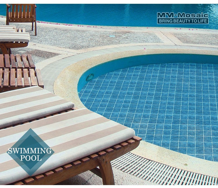 4 X4 Wave Blue Gray Porcelain Swimming Pool Tiles For