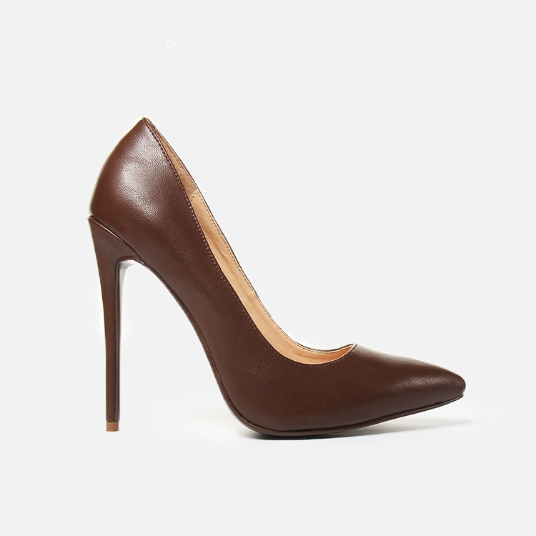 Pointed Classic brown shoes leather dark real toes women heels pumps fashion stiletto UwdqZZ