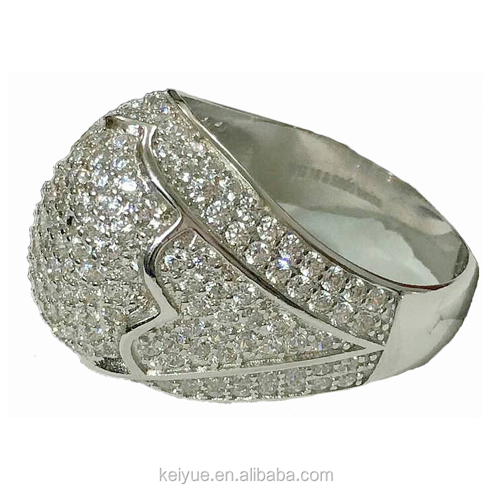 Luxury cz stone pave wedding jewellery ball ring silver men accessories