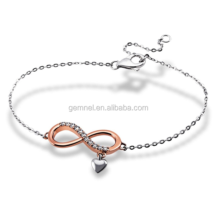 Gemnel jewlery infinity with heart trendy bracelet