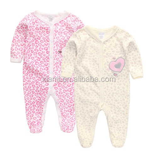 2016 more popular reliable fabric yellow and pink leopard stripe babywear