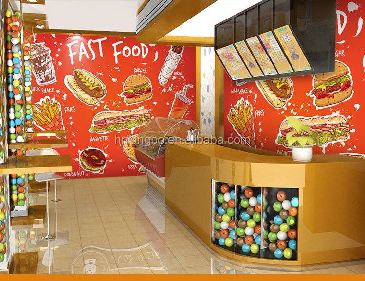 3d hamburg thema behang fastfood restaurant koffie huis bar snack