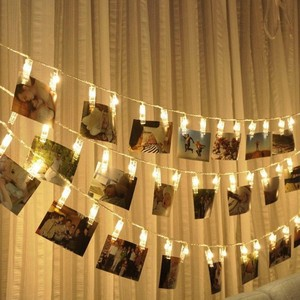 Battery Operated LED Hanging Picture Photo Clip Peg Bright String Rope Light Lamp Wall Hanging Wedding Party Home Decoration