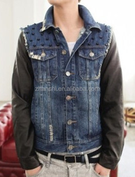 New Arrival Custom Jean Jacket With Leather Sleeves For Men Buy