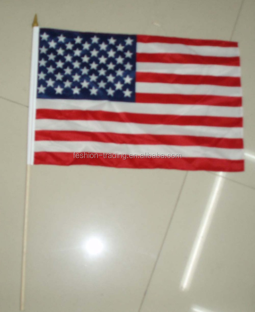 14x21cm polyester material United States hand stick waving national flag with wooden pole for sport