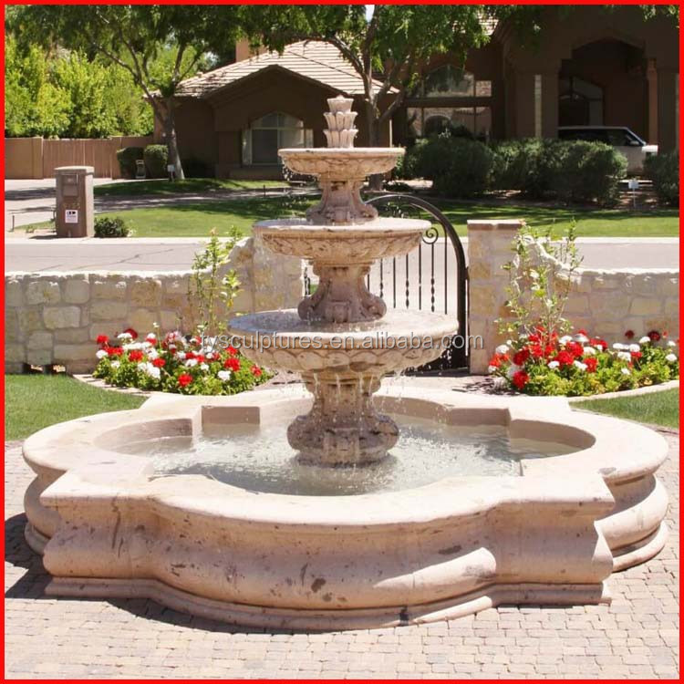 Battery Operated Outdoor Concrete Stone Round Stone Water Fountain Mold  Indoor Marble Floor Standing Fountain