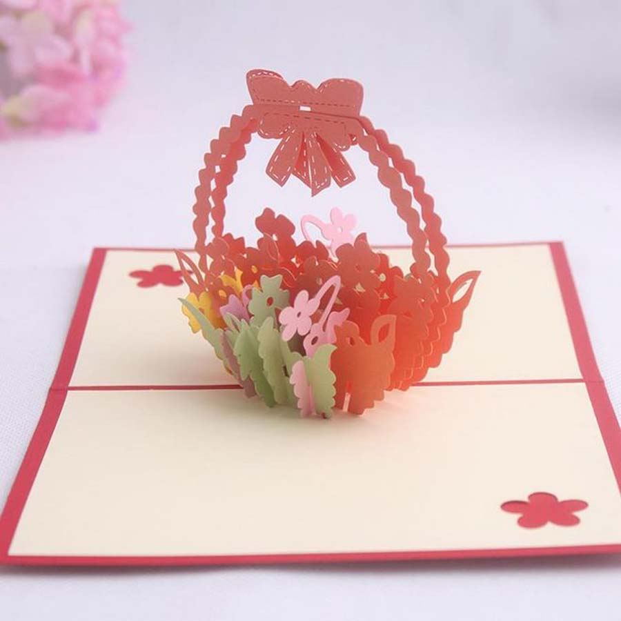Картинки про, делаем объемную открытку корзина с цветами