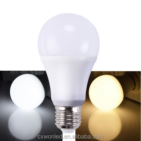 E27 B22 Led bulb lights plastic aluminum 100lm/w warm white cool white A60 electric power energy saver