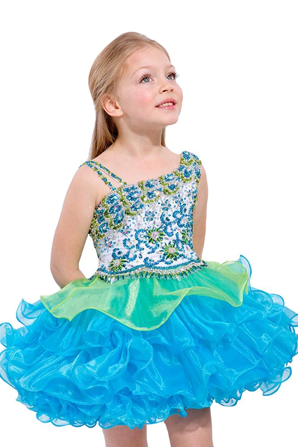 b6745caa2 Get Quotations · Aisha Little Girls' One Shoulder Cupcakes Beading Mini  Pageant Dress 7 US Turquoise