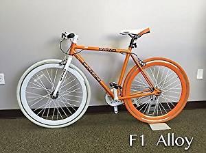 Caraci Fixed Gear Bike Aluminum Bicycle 53cm for Both Men and Women Fixie City Bike (Orange)