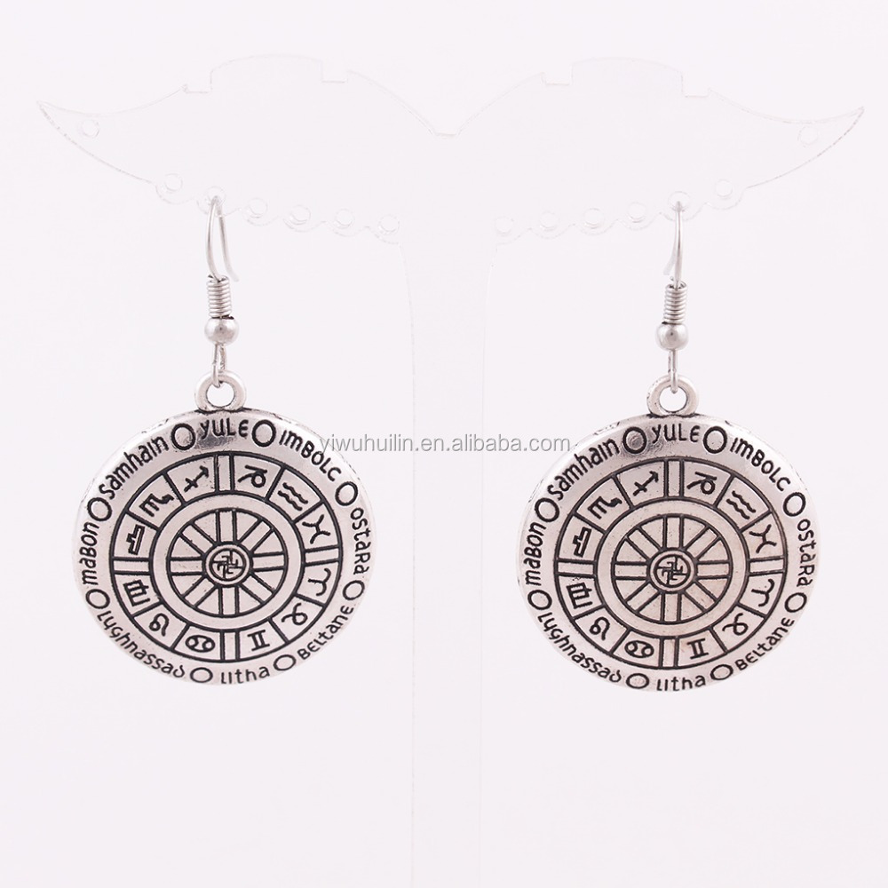 Huilin Customized Sliver WHEEL of THE YEAR Pendant Ladies Earring Of Ladies Earrings