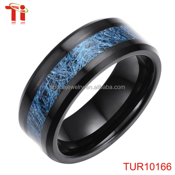 Last Men S Ring Design Black Tungsten Carbide Blue Camo Inlay