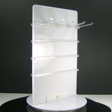Plexiglass tabellone con ganci piolo bordo display