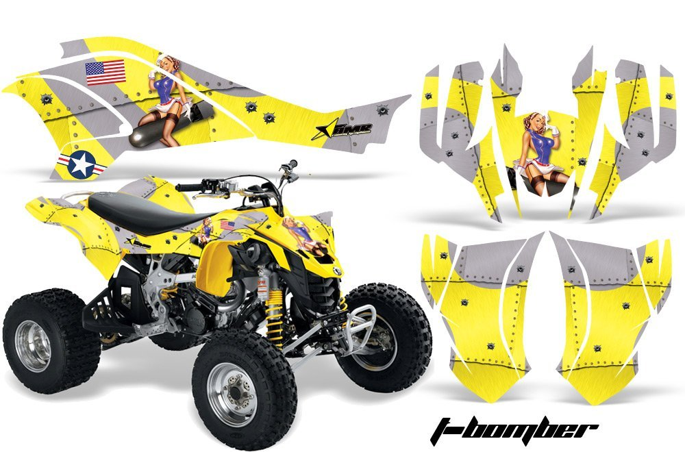 AMR Racing Graphics Can-Am DS-450 2008-2016 ATV Vinyl Wrap Kit - T-Bomber Yellow