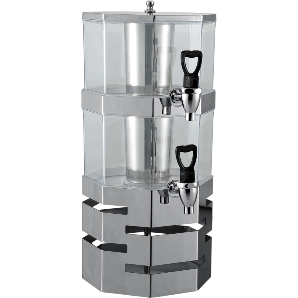 OWNFIT 2*4L Double Head Juice Dispenser Cold Beverage Machine Stainless Steel PC Material