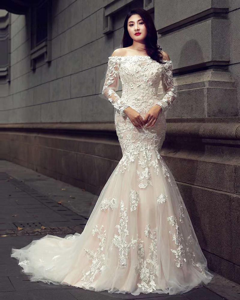 06443f48eec Janceber RSM66353 настоящее свадебное платье корейский стиль Элегантный  Русалка суд платья для женщин Пышные свадебные платья