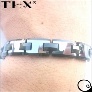Accept Custom Order White And Black Two Tone Gift Design Tungsten Watchband