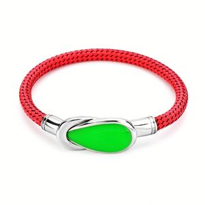 New Arrival 2019 Braided Red Leather Natural Stone Gemstone Bangle
