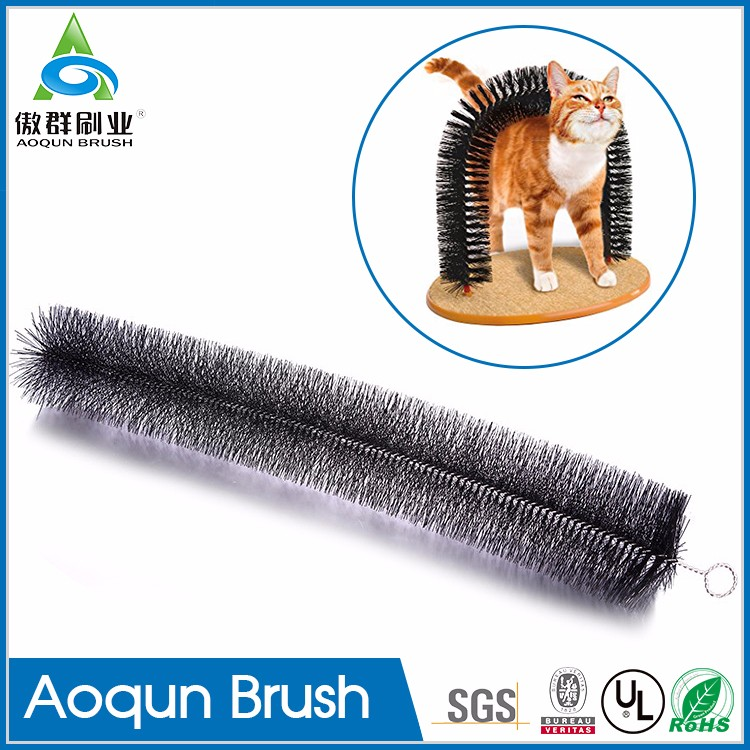 Multi-function cat door with brush,nylon arched cat scratcher brush