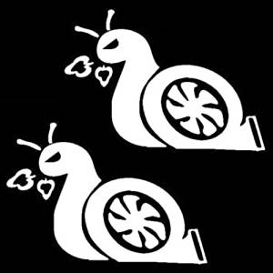 """iJDMTOY (2) 5"""" Funny JDM Boosted Turbo """"Slow"""" Angry Snail Drift Car Window Decal Sticker"""