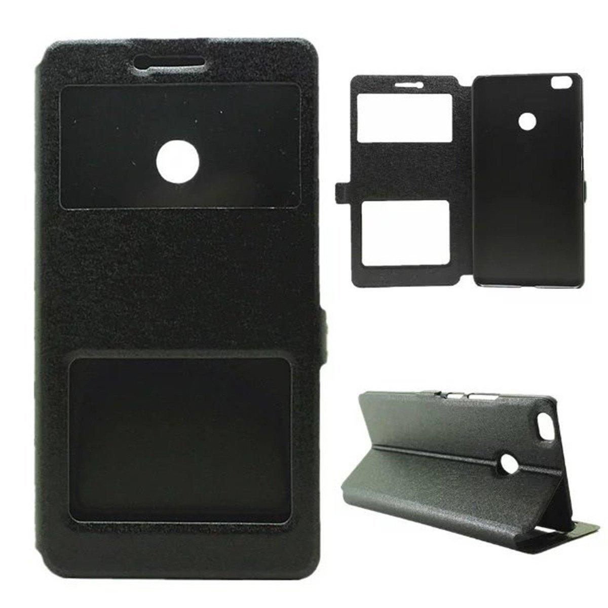Xiaomi Mi Max Case,Gift_Source [Slim Fit] [Stand Feature] Silk Flip Window View PU Leather Case Flip Cover Folio Case for Xiaomi Mi Max/Max 6.44 Inch [Black]