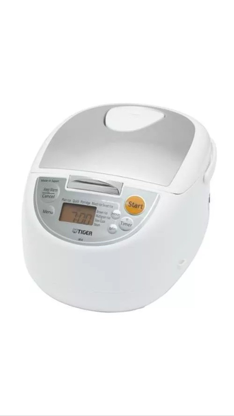 Tiger JBA-T10U-WY Micom Rice Cooker with Food Steamer and Slow Cooker, White, 11 Cups Cooked/5.5 Cups Uncooked