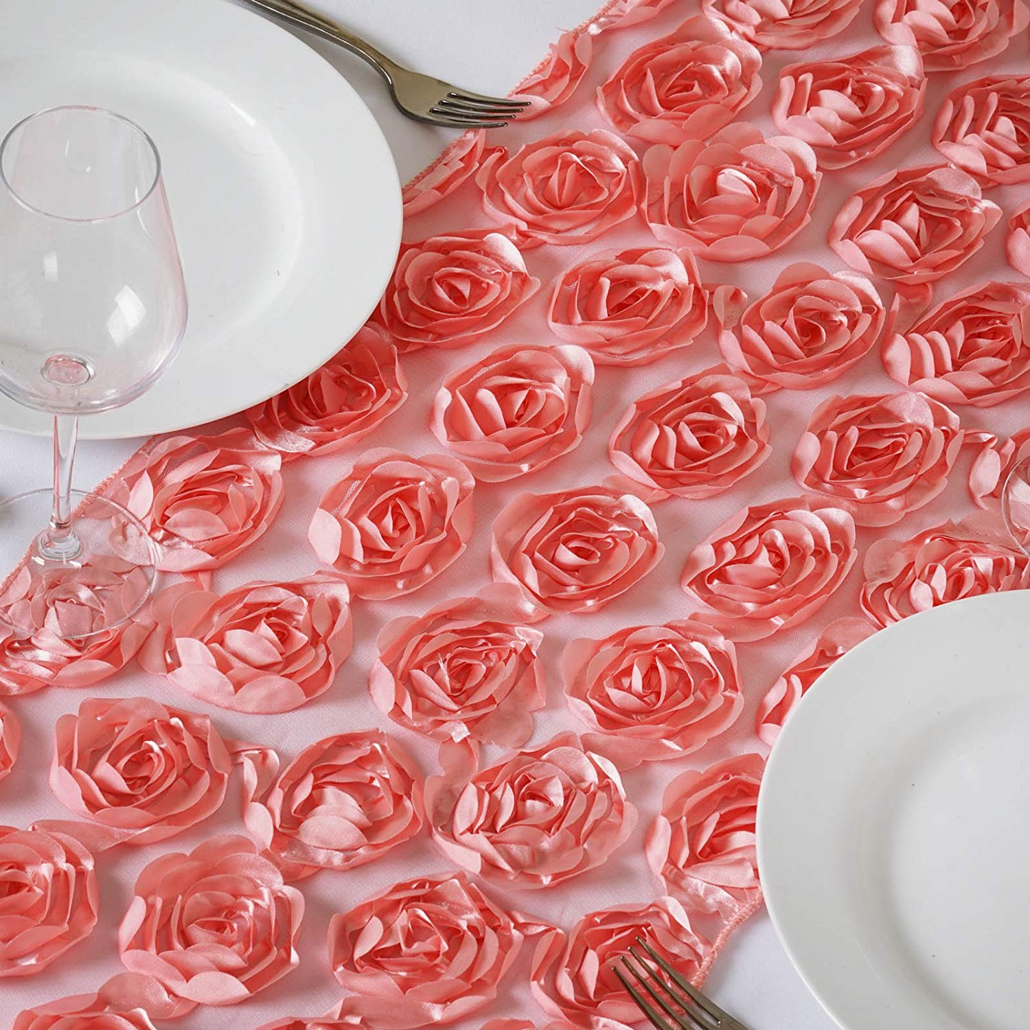 BalsaCircle 12 x 108-Inch Rose Quartz Pink Satin Ribbon Roses on Lace Table Top Runner - Wedding Party Reception Linens Decorations