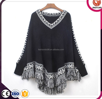 Winter Women Knitted Cashmere Shawl and Poncho With Leather Fringe