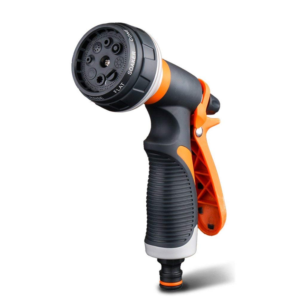 WUZJ Garden Hose Nozzle Hose Spray Nozzle Leak Free, 8 Adjustable High Pressure Water Patterns for Watering Plant Car Washing Pets Showering