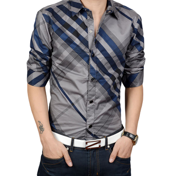 Wholesale Hot Sale men's slim fit casual striped dress shirts