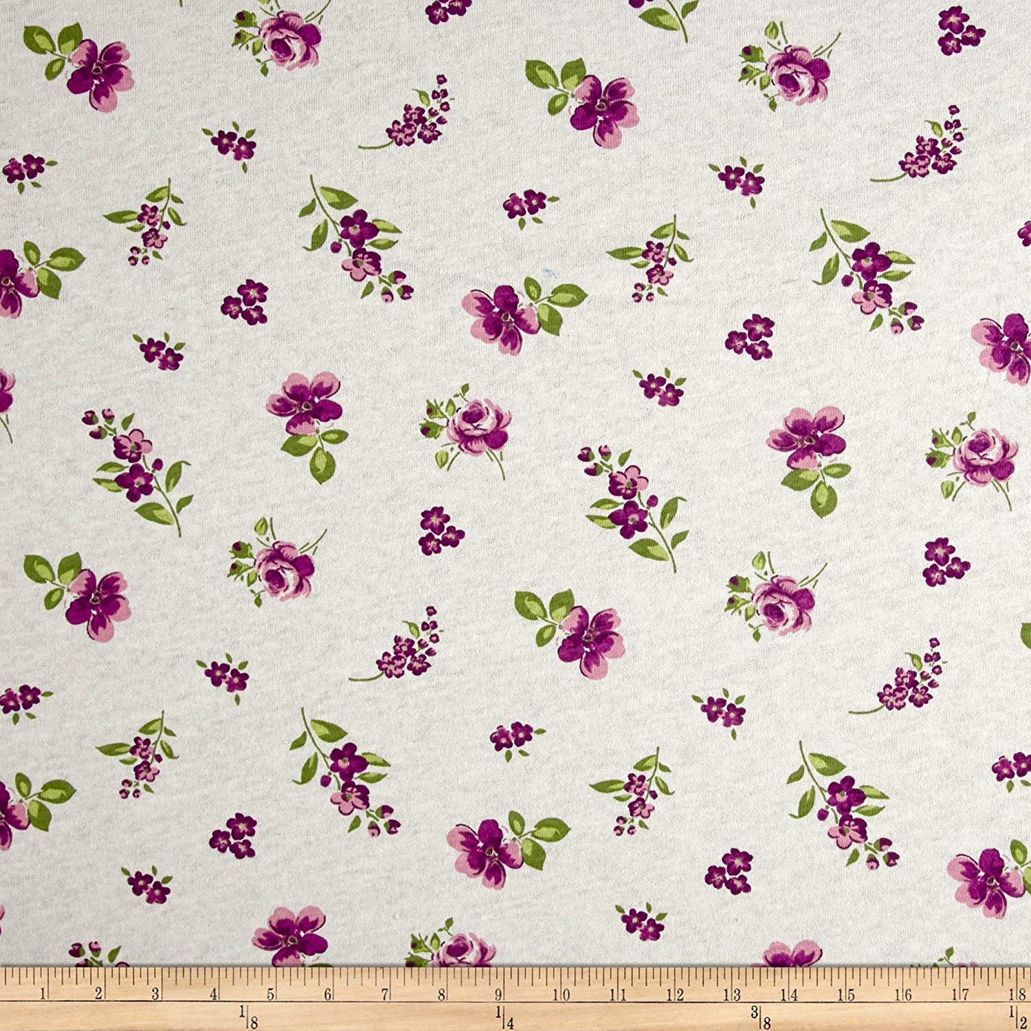 f89eeac37f3 Get Quotations · Fabric Merchants 100% Cotton Jersey Knit Floral, Plum/White