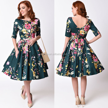 Woman clothing fashion classic retro apparel design floral gorgeous hunter green flare midi Retro style fashion for muslimah
