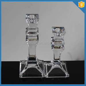 LXHY-TE015 crystal glass taper candle holder tiffany candle holder