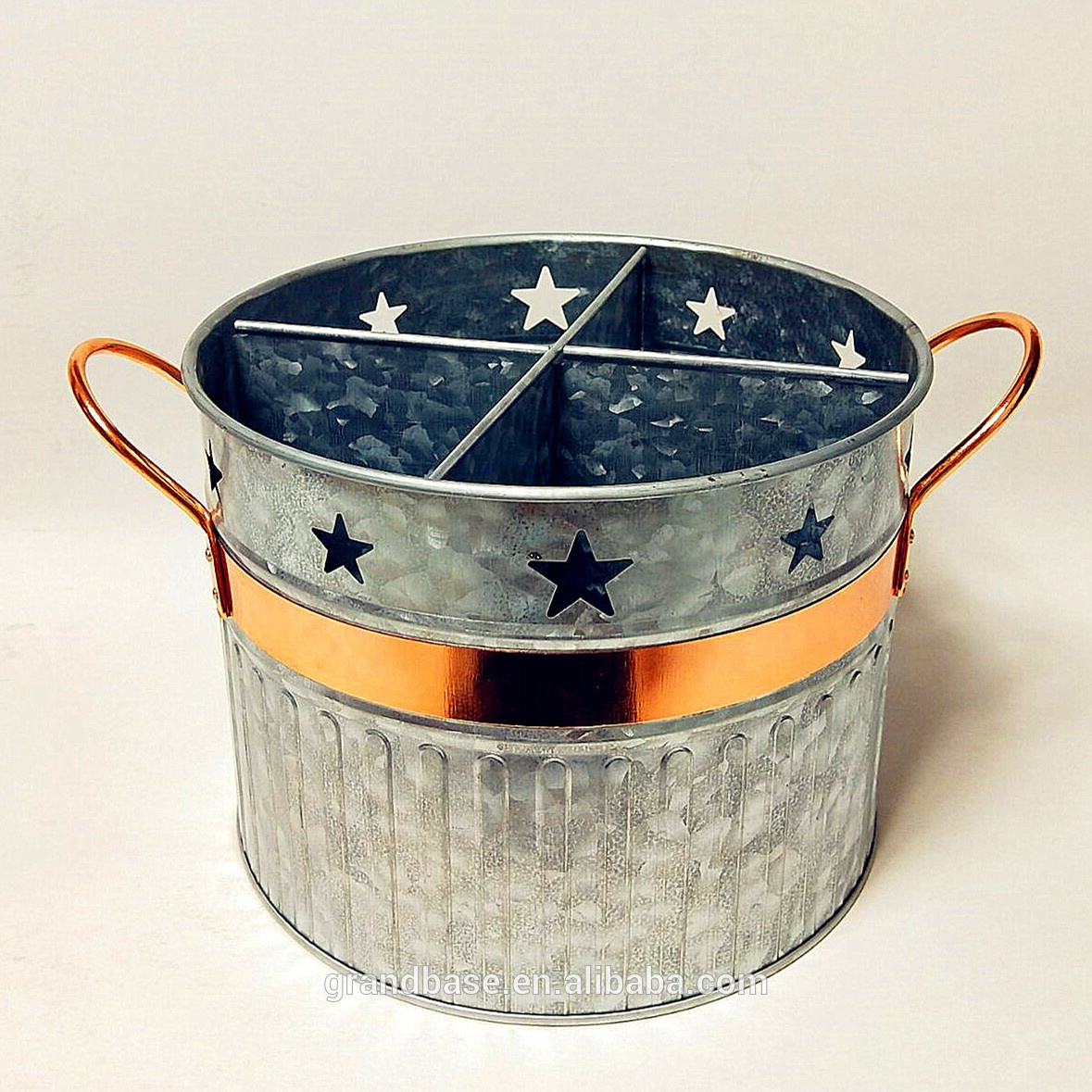 Cut-out start design galvanized metal utensil holder / bucket / Canister with copper band and handles