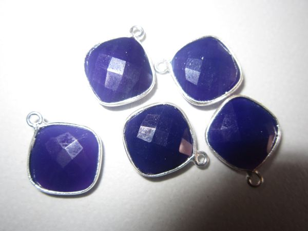 5PCS PURPLE CHALCEDONY STERLING SILVER CONNECTORS SQUARE 14MM 11X14MMMM TO 1316MM