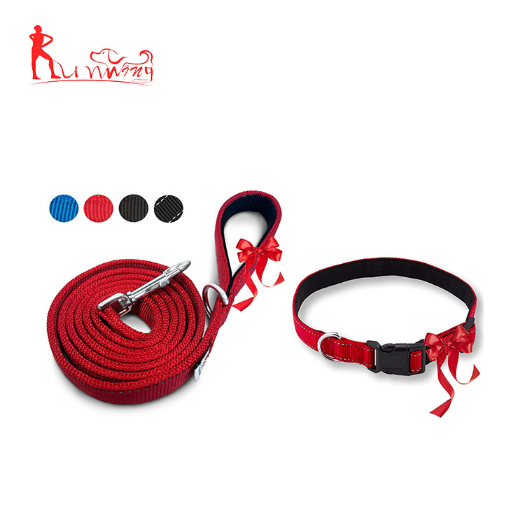 Pet supplies wholesale nylon dog leash collar set for medium dogs