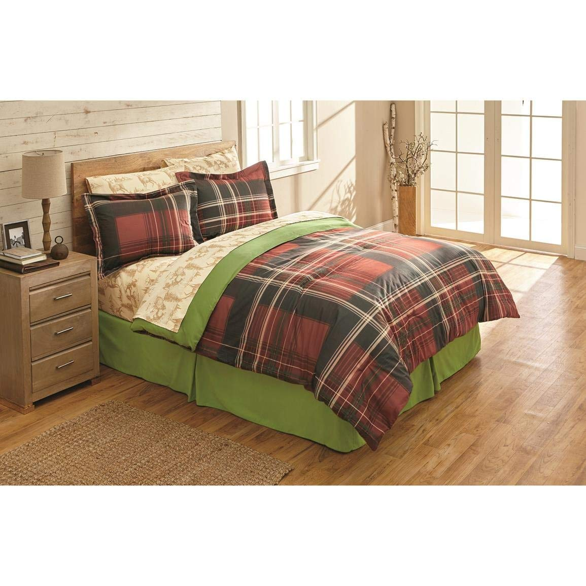 N2 6 Piece Black Red Plaid Comforter Twin Set, Cabin Themed Bedding Checkered Ivory Lines Checked Lodge Pattern Montana Brown Bear Deer Pine Trees Sheets Madras Buffalo Classic, Polyester