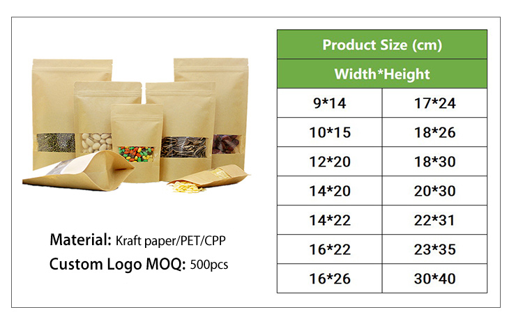 Food Grade Dried Fruit Food Packaging Kraft Paper Food Zipper Bag Stand Up Pouch
