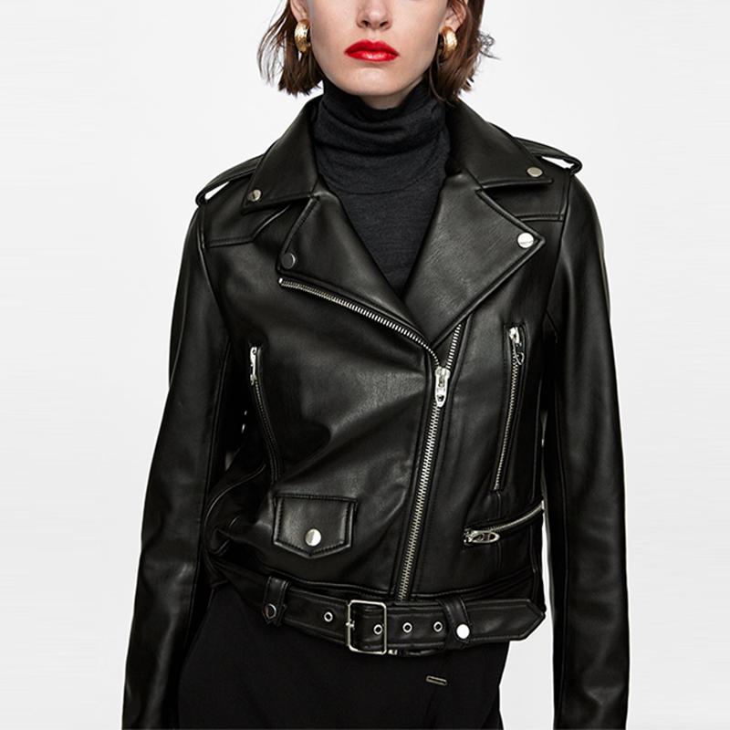 Toptan kadınlar kısa fermuar suni deri biker ceket
