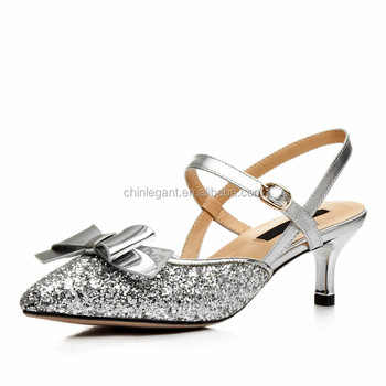 9083d484ab9e Chengdu Factory Wholesale Women Bowknot Shinny Silver Glitter Ladies Kitten  Low Heel Wedding Bridal Dress Pumps